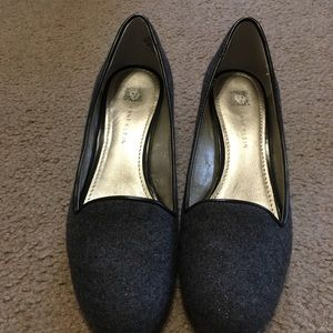 Anne Klein Size 7 M slip on dark grey wedge